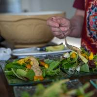Our amazing host preparing a nutritious dinner for hungry hikers | Sherry Ott