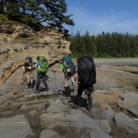 Navigating the rocky shelf during low tide